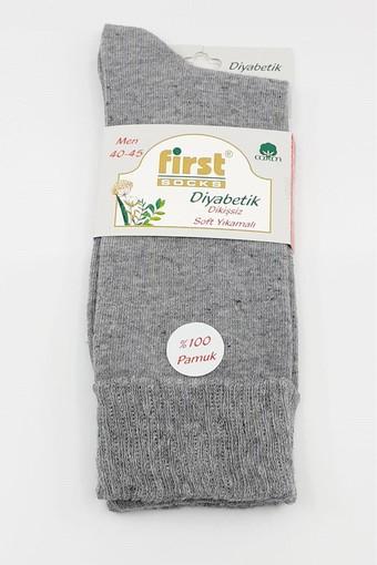 GÜLEÇLER-FIRST - First Erkek Şeker Çorabı Diyabetik Dikişsiz Pamuklu Düz (12 adet) (1)
