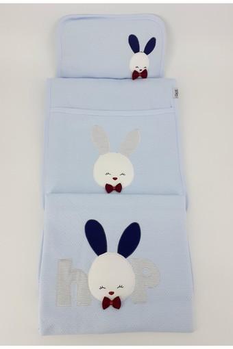 GAYE - Gaye Unisex Bebek 3 lü Alt Açma Seti Tavşan ve Ayıcık Nakışlı Yıldızlı