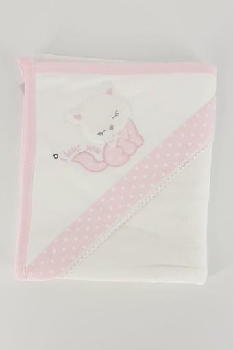 GAYE - Gaye Kız Bebek Havlusu Taçlı Kedicik Nakışlı Puantiyeli (1)
