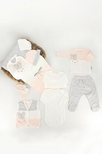 GAYE - Gaye Unisex Bebek 10 lu Zıbın Seti Tavşan Nakışlı (1)