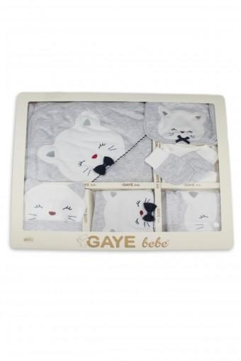 Gaye Unisex Bebek 10'lu Zıbın Set Papyonlu Kedi Detaylı - Thumbnail