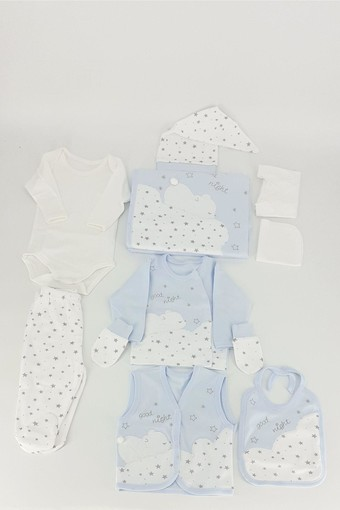 GAYE - Gaye Unisex Bebek 10'lu Zıbın Set Uyuyan Ayı Nakışlı Yıldızlı