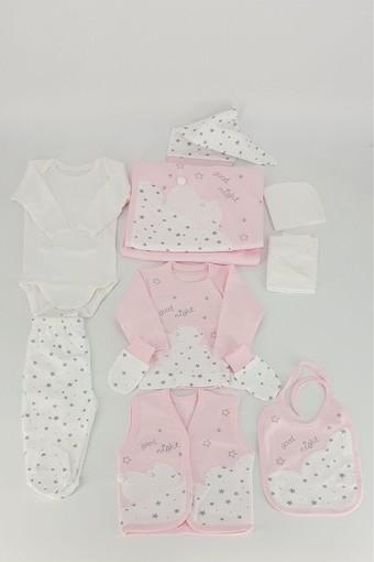 GAYE - Gaye Unisex Bebek 10'lu Zıbın Set Uyuyan Ayı Nakışlı Yıldızlı (1)