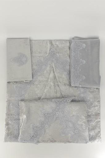 BELÇİM - Giona Collection Şase-Bohça Takım Kadife Güpürlü 5 Parça