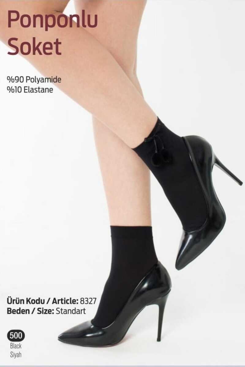 İtaliana Kadın Soket Çorap Ponponlu (12 adet) - Thumbnail