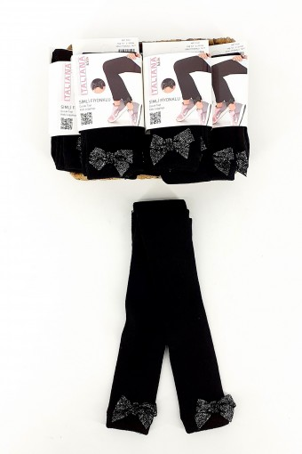 İTALİANA - İtaliana Kız Çocuk Tayt(Çorap) Viskon Simli Fiyonklu (6 adet)
