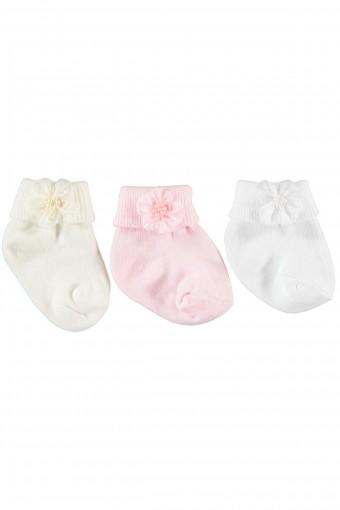 MİNİ DAMLA - Minidamla Kız Bebek 3 lü Soket Çorap Çiçekli