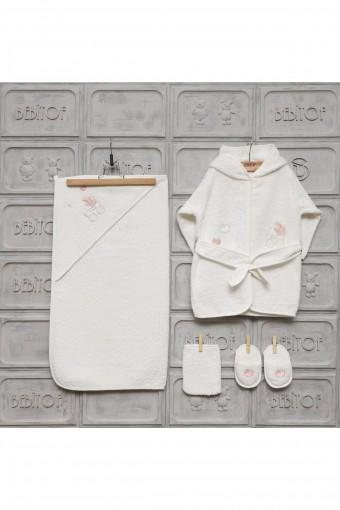 Minilamb Kız Bebek Bornoz Seti Baby Car - Thumbnail