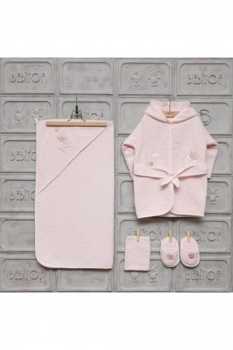 MINILAMB - Minilamb Kız Bebek Bornoz Seti Baby Car (1)