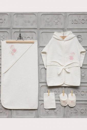 BEBİTOF - Minilamb Kız Bebek Bornoz Seti Fiyonklu Ayıcık