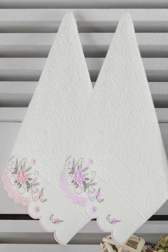 Nurpak El Yüz Havlusu Sare Bambu Nakışlı 50x90 (12 adet) - Thumbnail