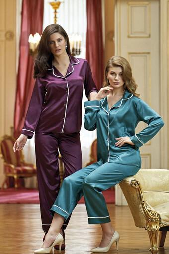 NURTEKS - Nurteks Kadın Fantezi Pijama Takımı Saten NURTEKS5656