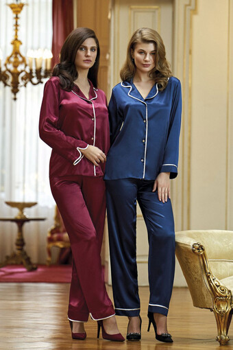 NURTEKS - Nurteks Kadın Fantezi Pijama Takımı Saten NURTEKS5656 (1)