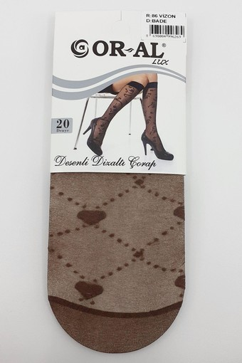 ORAL - Oral Kadın İnce Dizaltı Çorap Lüks Desenli Bade (12 adet)