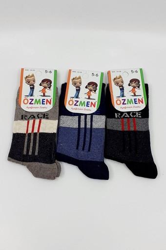 ÖZMEN - Özmen Erkek Çocuk Soket Çorap Desenli Likralı (12 adet) (1)