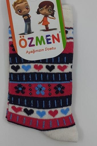 ÖZMEN - Özmen Kız Çocuk Soket Çorap Desenli Likralı (12 adet)
