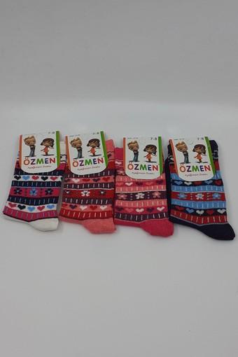 ÖZMEN - Özmen Kız Çocuk Soket Çorap Desenli Likralı (12 adet) (1)