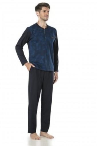 PIERRE CARDIN - Pierre Cardin Erkek Çeyizlik Pijama Takımı 3 Düğmeli Jakar Dokumalı Pamuklu (1)
