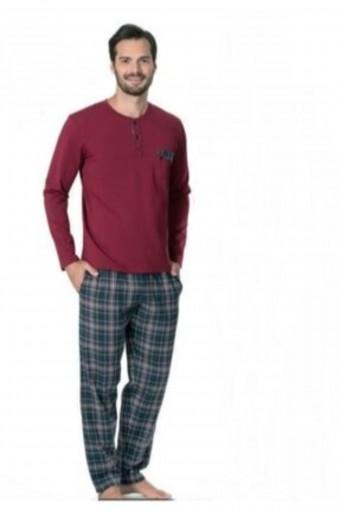 PIERRE CARDIN - Pierre Cardin Erkek Çeyizlik Pijama Takımı 3 Düğmeli Pamuklu