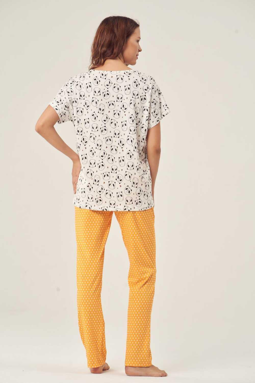 Pijadore Kadın Pijama Takımı Kısa Kol Dream Big Baskılı - Thumbnail