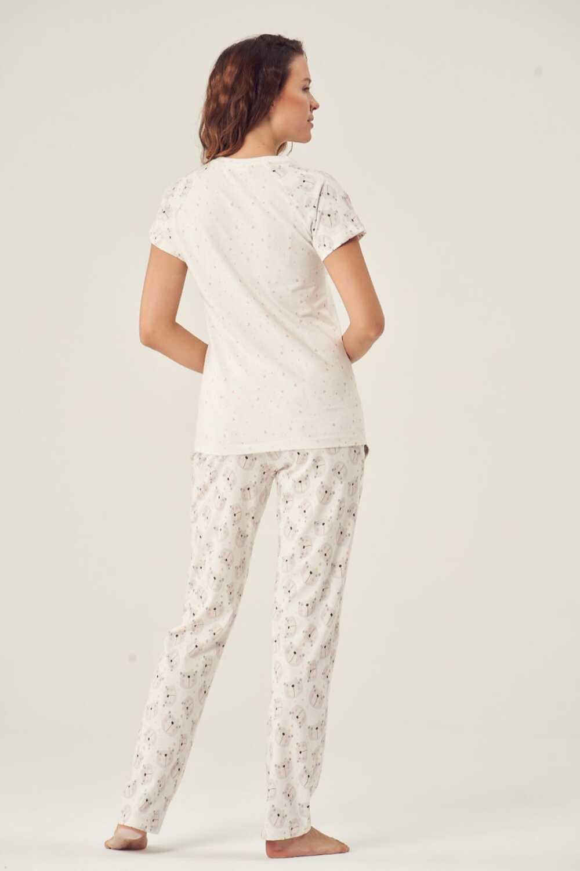 Pijadore Kadın Pijama Takımı Kısa Kol Hello Baskı - Thumbnail