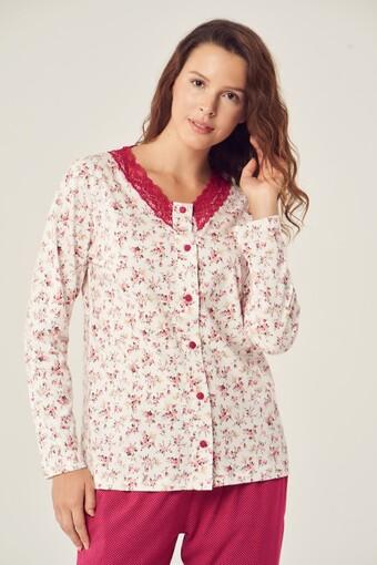 PİJADORE - Pijadore Kadın Pijama Takımı Uzun Kol Boydan Düğmeli Fisto Yaka (1)