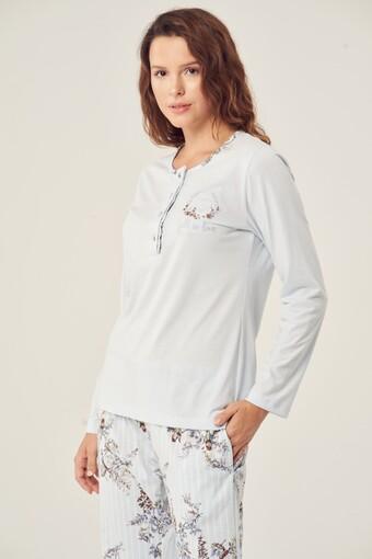 Düğmeli Uzun Kollu Kadın Pamuklu Pijama Takımı - Thumbnail