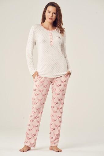 PİJADORE - Pijadore Kadın Pijama Takımı Uzun Kol Dört Düğmeli
