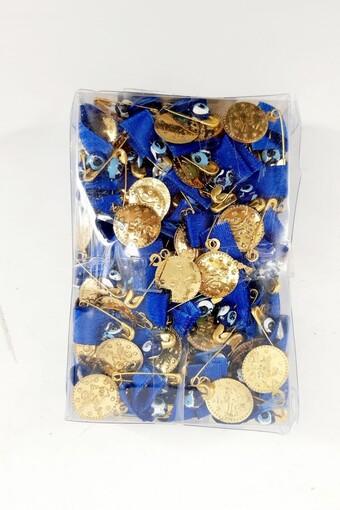 PINAR - Pına Pul Altın Para Çengelli İğneli Kırmızı Kurdelalı