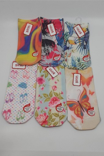 ŞİRİN - Şirin Kadın Patik Çorap Dijital Baskılı (12 adet) (1)