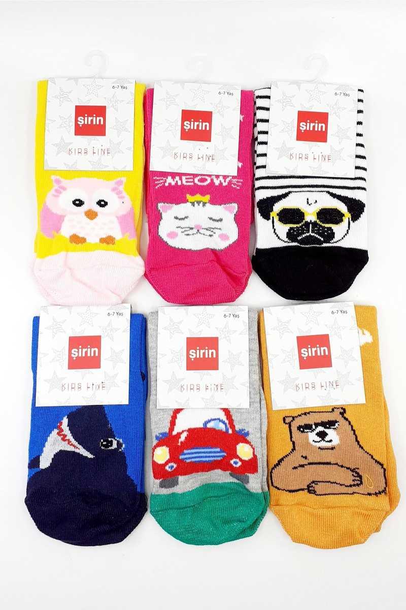 Şirin Unisex Çocuk Soket Çorap Karışık Hayvan Desenli (12 adet) - Thumbnail