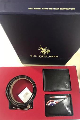 U.S. POLO - U.S. Polo Erkek Cüzdan-Kemer Takım Kartlıklı 3 Parça