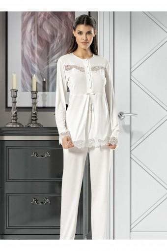 SESKON - X-Ses Kadın Lohusa 3 lü Pijama Takımı Uzun Kollu Dantelli (1)