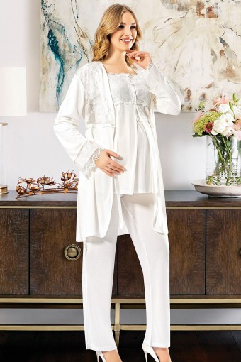 SESKON - X-Ses Kadın Lohusa 3 lü Pijama Takımı Dantelli (1)
