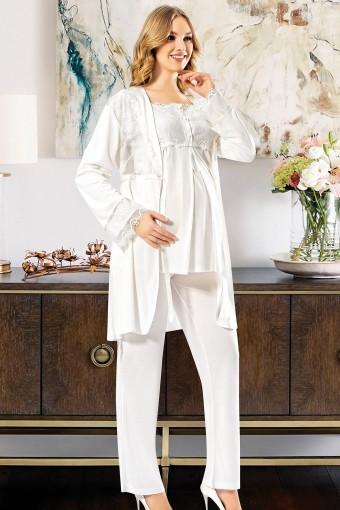 SESKON - X-Ses Kadın Lohusa 3 lü Pijama Takımı Dantelli