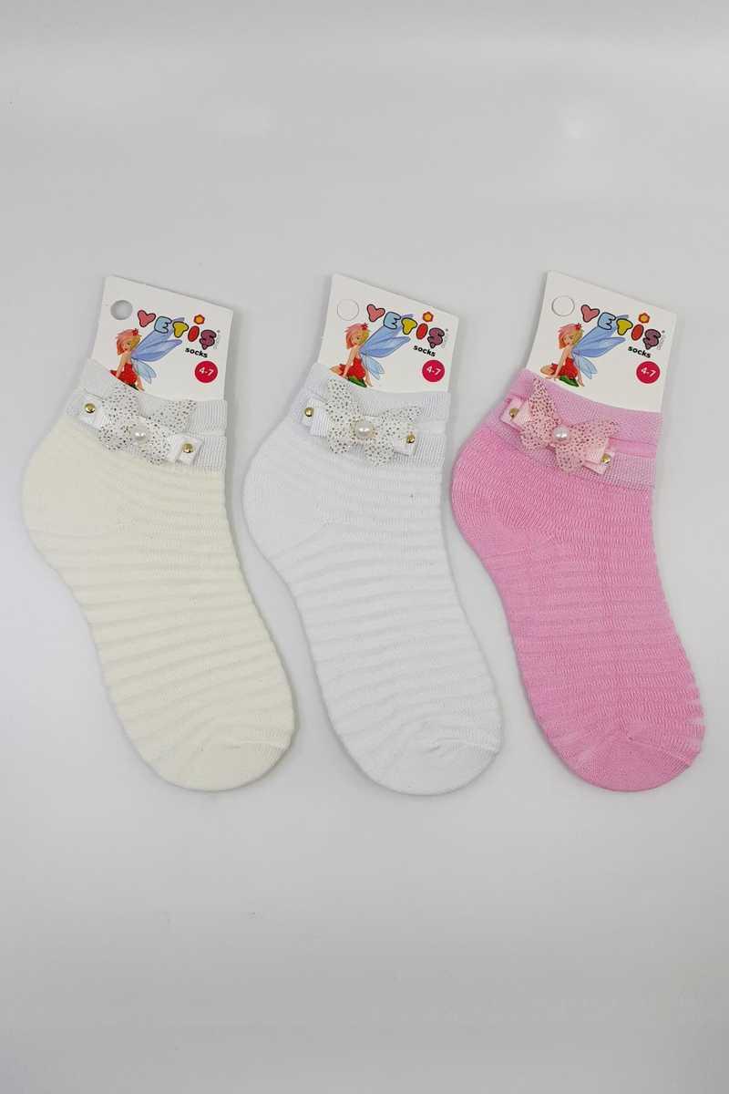 Yetiş Kız Çocuk Babet Çorap Klimalı Taşlı Kelebek Süslü (12 adet) - Thumbnail