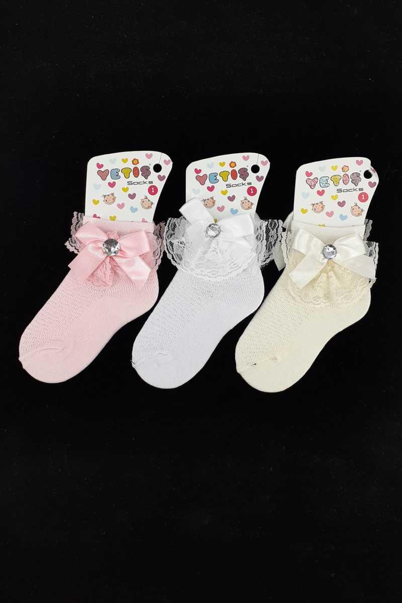 Yetiş Kız Çocuk Soket Çorap Ayaklı Aksesuarlı Fiyonk (12 adet) - Thumbnail