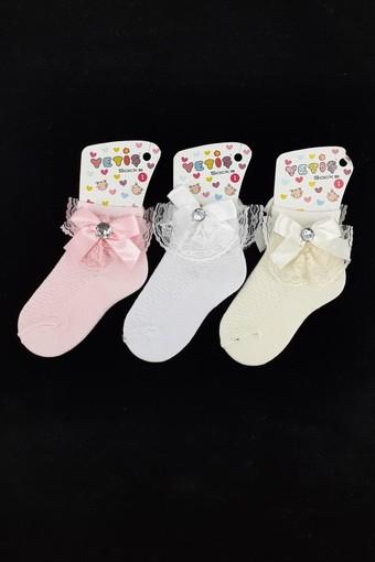YETİŞ - Yetiş Kız Çocuk Soket Çorap Ayaklı Aksesuarlı Fiyonk (12 adet)