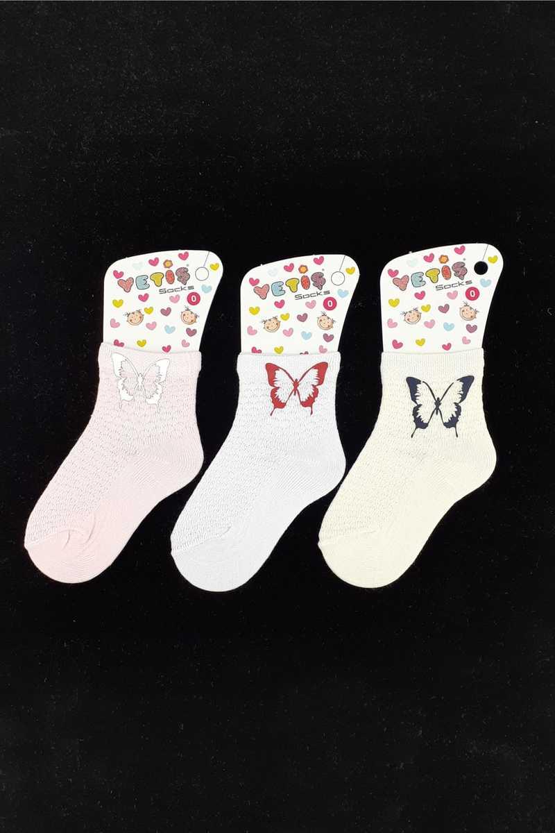 Yetiş Kız Çocuk Soket Çorap Ayaklı Kelebek Baskılı (12 adet) - Thumbnail