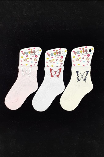YETİŞ - Yetiş Kız Çocuk Soket Çorap Ayaklı Kelebek Baskılı (12 adet)